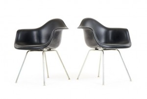 Black Eames DAX Chairs for Herman Miller