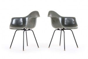 Pair of Elephant Gray Eames DAX Chairs for Herman Miller