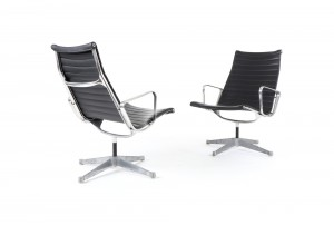 Pair of Eames Aluminium Group Lounge Chairs