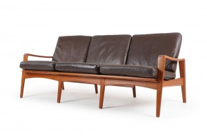 Arne Wahl Iversen Leather Sofa for Komfort Mobelfabrik
