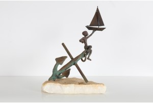 Curtis Jere Boy with Anchor and Sailboat Table Sculpture