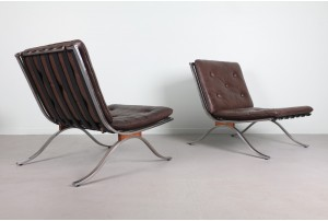 Deluxe American Modern Chrome and Leather Armchairs
