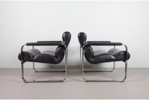 Pair of Eero Aarnio Leather and Chrome Armchairs