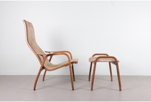 Yngve Ekström Lamino Chair and Ottoman for Swedese