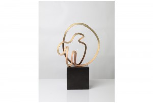 Gidon Bing Aegean Bird Brass Sculpture on Ceramic Plinth