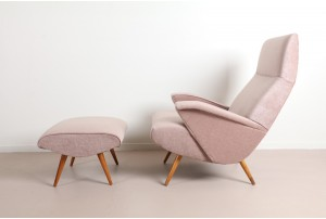 Bob Roukema Armchair and Ottoman for Jon Jansen – Blush