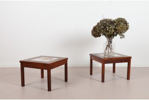 Pair of Brown Saltman Enamel Tiled Walnut Side Tables