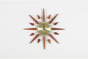 Sears Roebucks Teak Starburst Clock