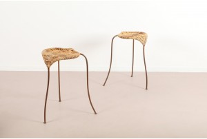 Pair of Rare Stephane Rondel Low 'Peanut' Stools