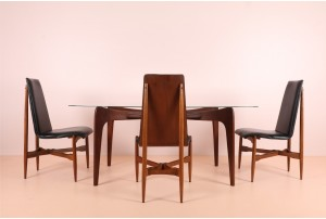 Four Highly Organic Kodawood Walnut Dining Chairs