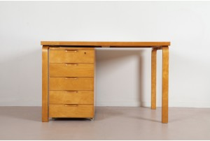 Rare Alvar Aalto Desk and Pedestal Cabinet