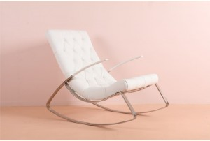 Glamorous Chrome and Leather Rocking Chair