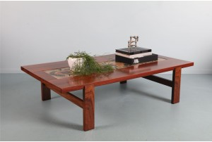 Handsome Trioh Rosewood and Tile Coffee Table