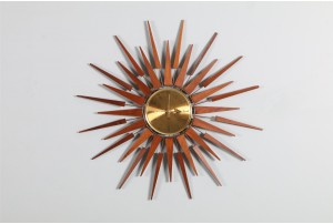 Seth Thomas 'Starflower' Starburst Clock with Gold Hands