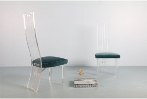 Four Glamorous Charles Hollis Jones Lucite Dining Chairs