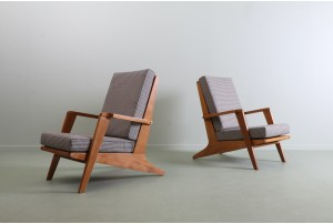 Pair of Rare Architectural 1950s Armchairs