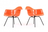 Pair of Watermelon Eames DAX Chairs for Herman Miller