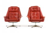 Bramin Leather Swivel Armchairs